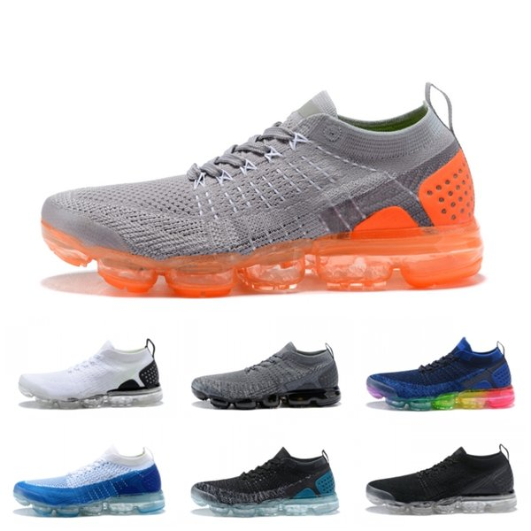 d2323ad45142 Cheap fly 1.0 2.0 running Shoes 2019 mens lightweight breathable sneakers  womens black white knit plus Athletics boots Size 36-45
