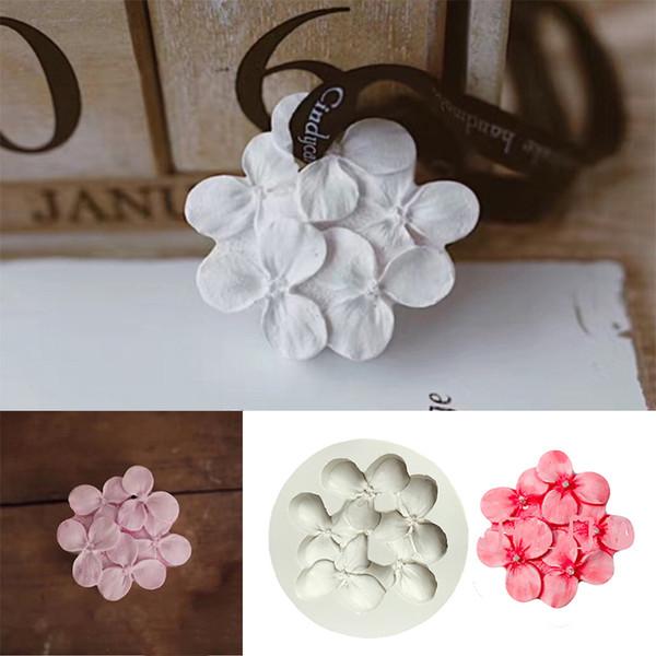 Hydrangea fondant molde de pastel de aromaterapia cera molde coche colgante decorativo ornamento aroma cera moldes de silicona