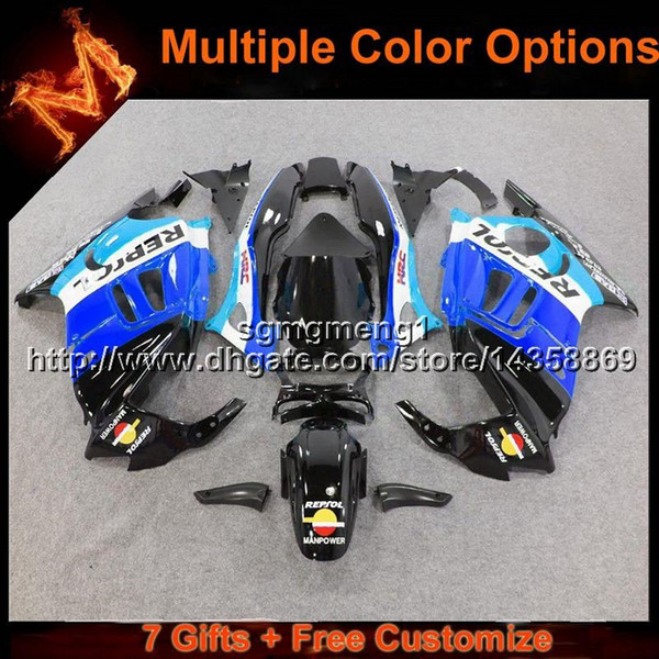 23colors+8Gifts repsol blue motorcycle cowl for HONDA CBR 600F3 1995-1996 CBR600F3 1995 1996 ABS Plastic Fairing