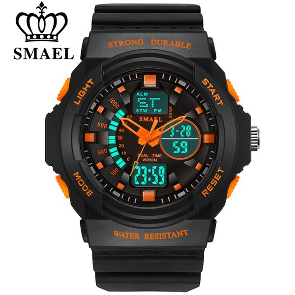 SMAEL Men & Women LED Quartz Dual Display Sport Watches Student Outdoor Clock Male Fashion Female Electronic Wristwatch S L Size