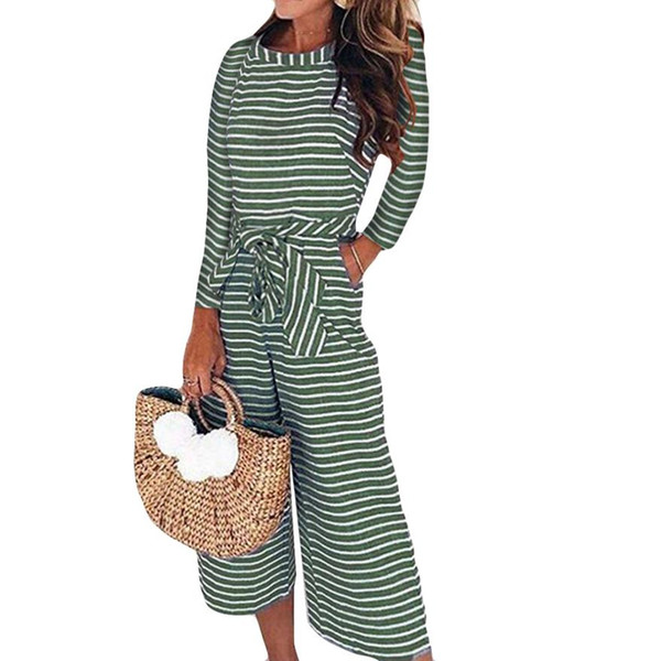 Women Long Sleeve Stripe Jumpsuits Lady Loose Playsuit Long Wide leg Trousers women's gloria large sizes trousers C30815