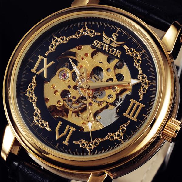 SEWOR Mens Automatique Montre-Bracelet De Luxe Moulage Sous Pression Or Case S Cadran Squelette Creux Horloge Bracelet En Cuir Mâle Montres Mécaniques D18100706