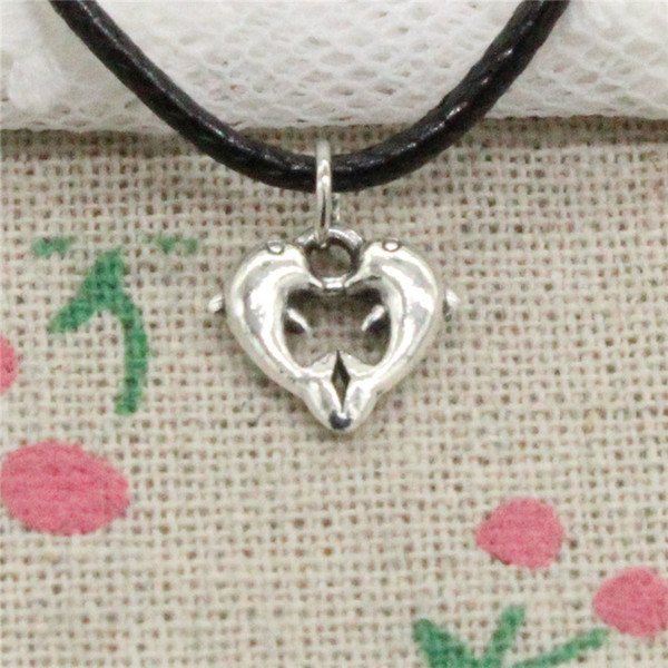 Creative Fashion Antique Silver Pendant double dolphin 11*11mm Necklace Choker Charm Black Leather Cord Handmade Jewlery