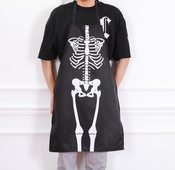 Neuheit-Schürze Halloween-furchtsamer Skeleton Geist-lange Schutzbleche, die Malerei-Kunst-Küche GRILLEN Party-Zusatz-Erwachsenengröße schwarzes Geschenk kochen