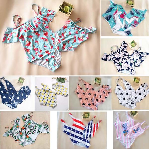 best selling 11 style fashion hot selling Mother Daughter Bikini outfits swimwear beach women girl ruffles flower Unicorn print bikini sets