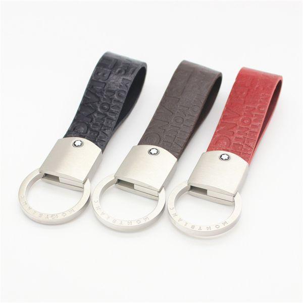 Kırmızı siyah kahverengi ile beyaz altın paslanmaz çelik anahtarlık anahtarlık ile yüksek kaliteli erkek deri