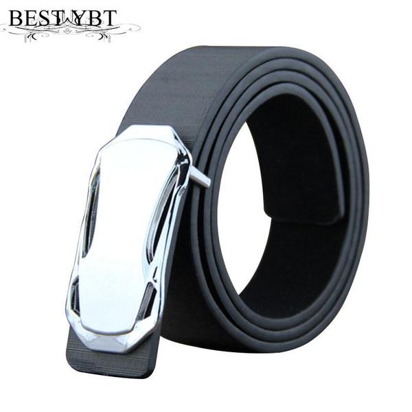 Best YBT Fashion Men Belt leather Alloy Smooth Buckle Men casual advanced PU Belt Popular Casual Business Male Belts