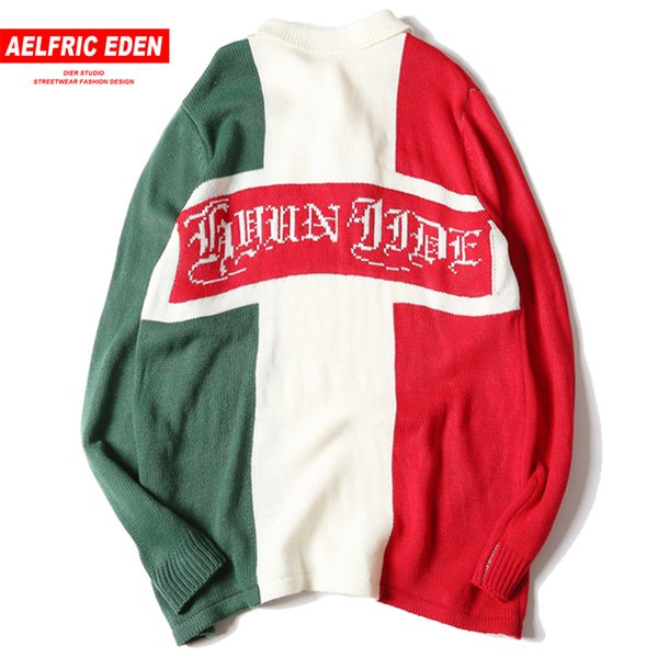 Aelfric Eden Mens Knit Sweaters Color Block Patchwork Letter Print Sweater Pullover Long Sleeve Knitwear Casual Streetwear LY14