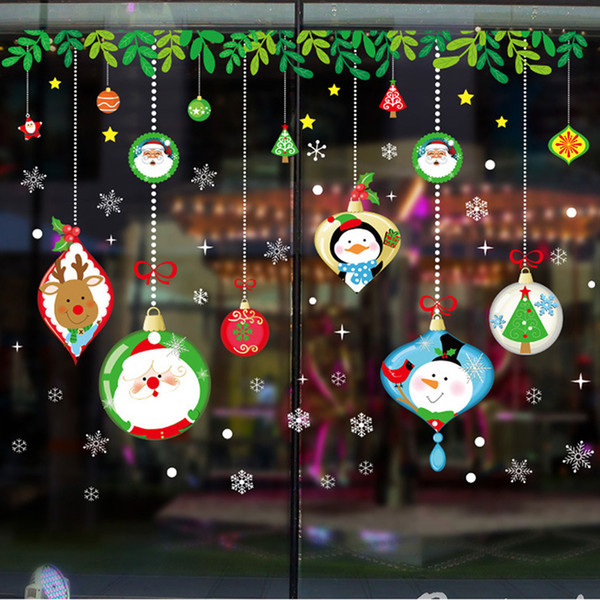 Christmas Santa Claus Wall Stickers For Shop Window Glass Decor Snowman Reindeer Home Decoration Accessories PVC DIY Mural Decalhaif