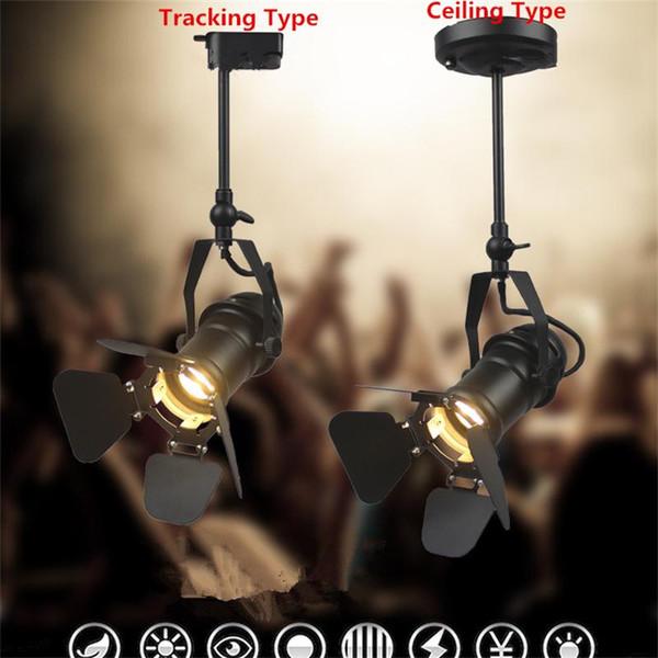 Rétro Américain COB Piste Lumière Guide des vêtements industriels Éclairage Bar Magasin Hall Salon Minimaliste Vintage Rail Lampadaire Spot