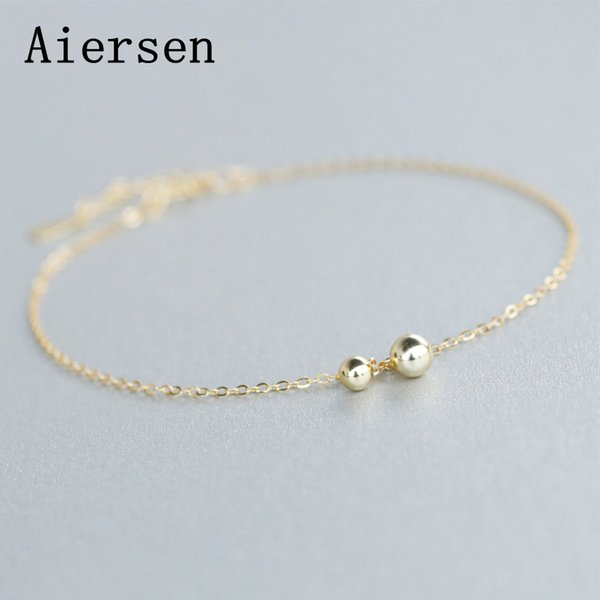 Aiersen 925 Sterling Silver Beaded Link Chain Anklet for Women S925 Ball Ankle Bracelet Adjustable Length Foot Jewelry Gift New