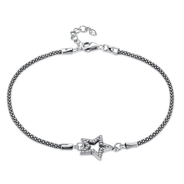 Vintage Star Shape Sterling Silver Chain Bracelet Trendy Ladies Brace Lace Romantic Zircon Inlaid Bracelet