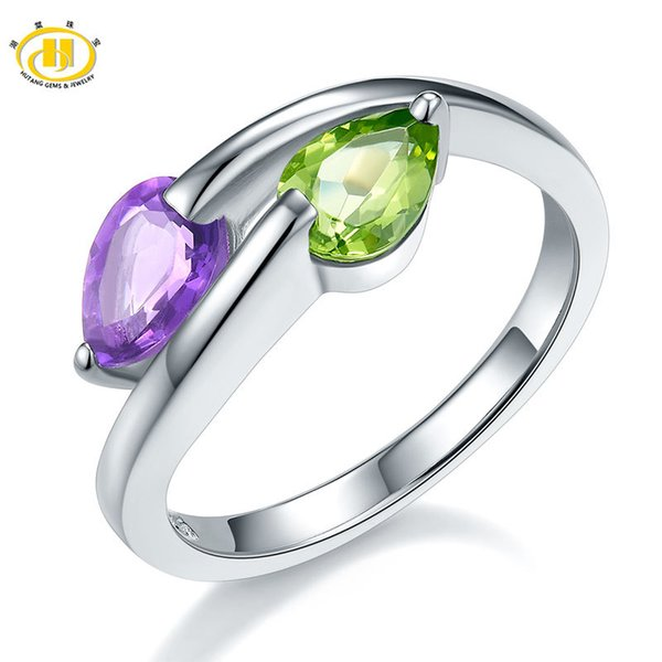 Hutang Genuine Gemstone Peridot Amethyst Wedding Ring Solid 925 Sterling Silver For Women Gift Fine Jewelry Pear Stone Wholesale S18101002