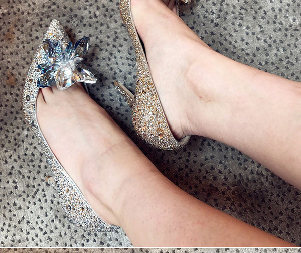 sliver color famous brand name wedding bride shoes pointed toe crystal diamond high heel women brial shoes 481