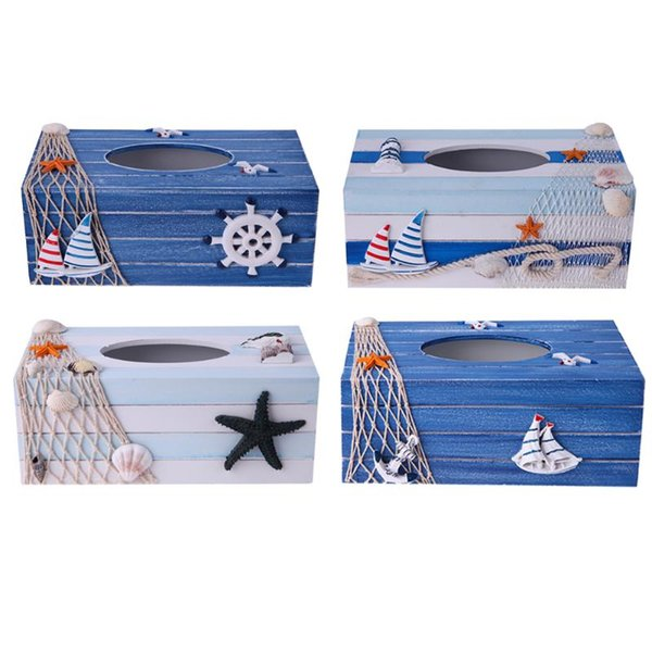 Wholesale-1pc Wooden Tissue Boxes Mediterranean Sea Household Style Car Towel Napkin Paper Holder Tissue Case Container