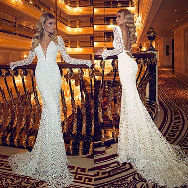 Ru ian mermaid wedding dre e 2019 lace bride dre e long leeve deep v neck backle women ve tido de noiva ereia wedding gown, White