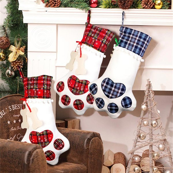 Cat Christmas Stockings.Large Plaid Paw Christmas Stocking For Dog Cat Christmas Gift Bags Xmas Tree Ornaments New Year Decoration Christmas Decorations Buy Online Christmas