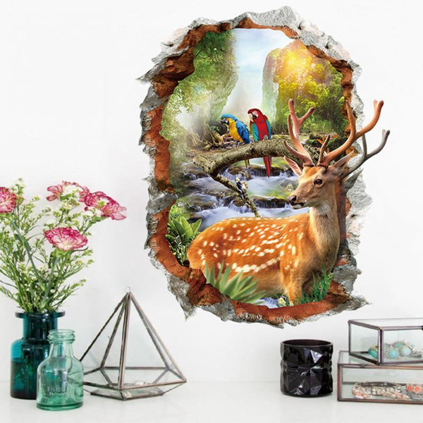 Wholesale 1 PCS 3D Forest Birds Deer Removable Wall Stickers Wall Decals Poster Mural Home Decoration Free Shipping