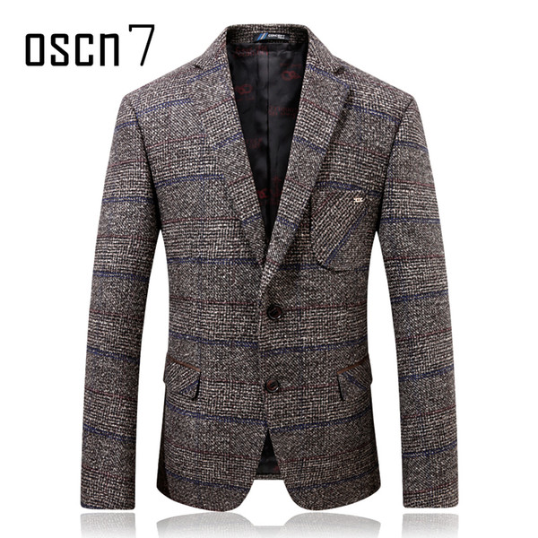 Oscn7 Grey Hound Tooth Blazer de lana para hombre 2017 Invierno Ver más grueso Slim Blazers para hombre Formal Casual traje de novia Jacket Hombres