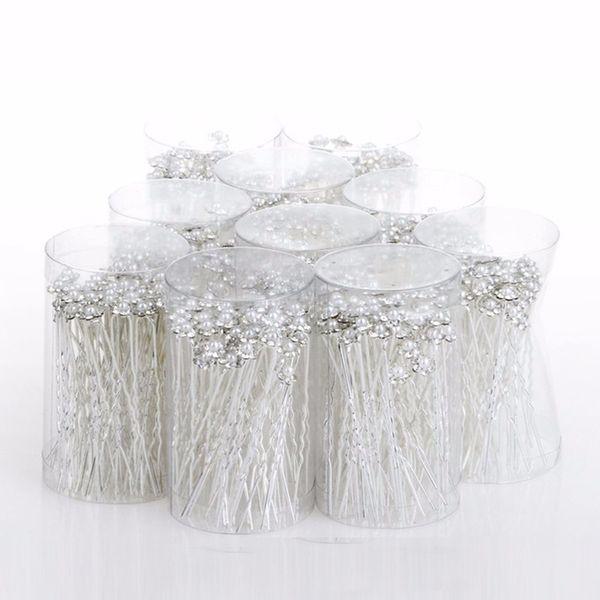 웨딩 헤어 핀 시뮬레이션 된 진주 꽃 신부 머리핀 들러리 머리카락 클립 여성 헤어 쥬얼리 액세서리 40 PCS / lot