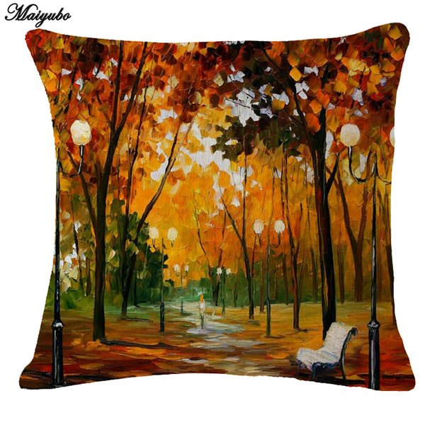 New Linen Pillow Cover Vintage Tree Scenery Pattern Cushion Cover Home Decorative Pillow Cushion Without Filling PC102