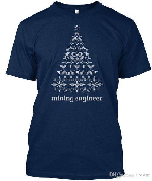 À la mode Ingénieur des mines T-shirt en tricot d'arbre de Noël T-shirt Élégant T-shirt Élégant Pile Homme Tops rigolotes en coton 2018 Nouveau T-shirt