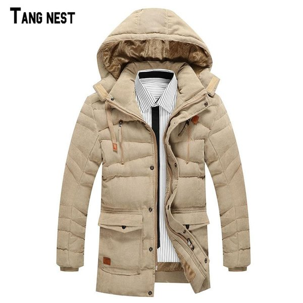 Wholesale- TANGNEST Men's Casual Parkas 2017 New Fashion Male Thicken Fleece Solid Parka Men Winter Warm Hooded Slim Coats MWM1495