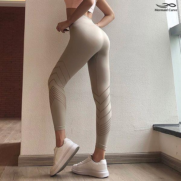 Fitness Leggings Women Elastic tight Striped hollow Yoga Pants Instagram Hot style High waist Slim Push Up Sports Legging Gym
