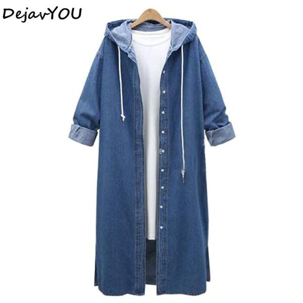 2018 Ladies Denim Jackets Women Long Sleeve Hooded Jaqueta Jeans Jacket Plus Size Spring Autumn Denim Coat Jeans Outwear XL-4XL