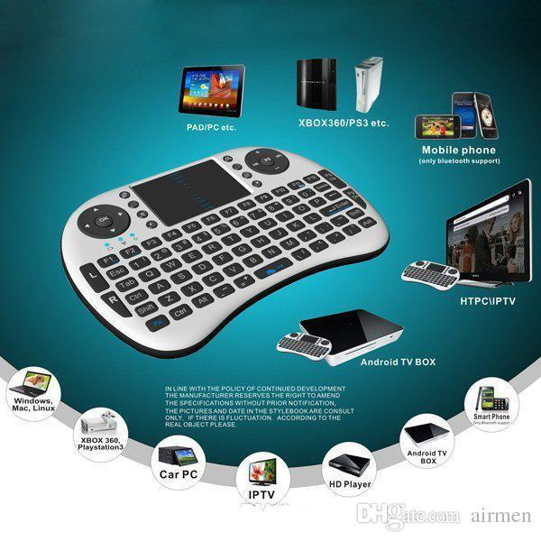 Rii Air Mouse Teclado de mano inalámbrico Mini I8 Control remoto con panel táctil de 2.4 GHz para MX CS918 MXIII M8 TV BOX Juego Jugar Tablet DHL Gratis