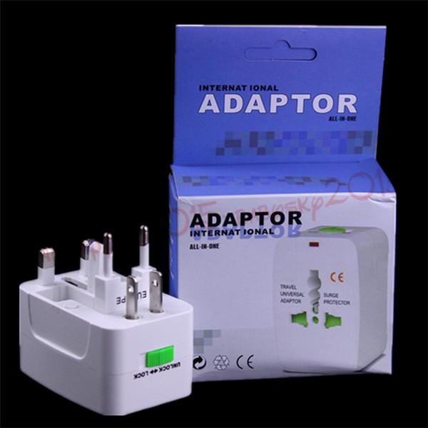 Adaptador universal de corriente alterna del cargador de la pared mundial de viajes internacionales con AU EE.UU. REINO UNIDO UE Enchufe todo en uno Adaptadores de cargador de enchufe de CC