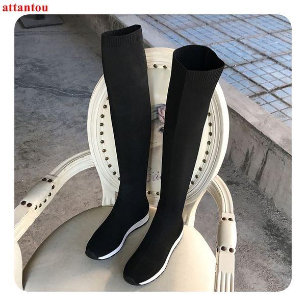 Weibliche Weiße Strickwolle Flache Von Elastische Schwarz Overknee Ferse Großhandel On Slip Kurze Frau Lange Herbstmode Stiefel 2019 Schuhe SUVzMp