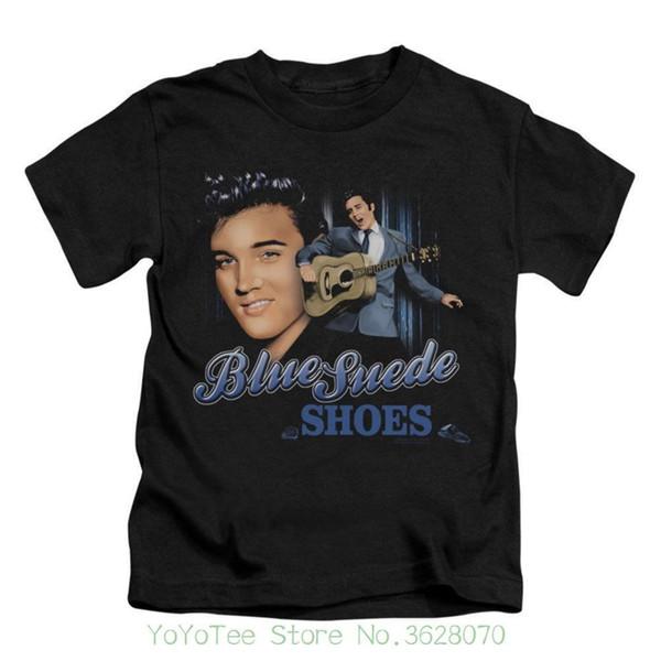 Ragazzi della manica corta della maglietta del collo di O '; T-shirt bambino in camoscio blu T-shirt bambino nero
