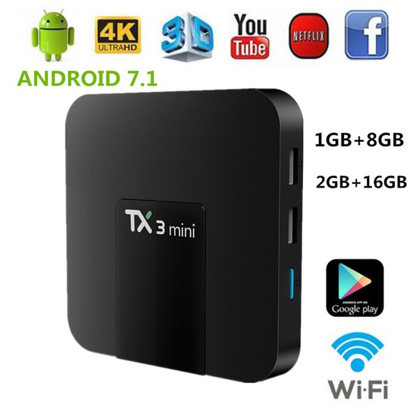 1PCS TX3 Mini Smart Android 7.1 TV Box 2GB 16GB Amlogic S905W 2.4GHz WiFi 4K HD Media Player TX3mini 1GB 8GB