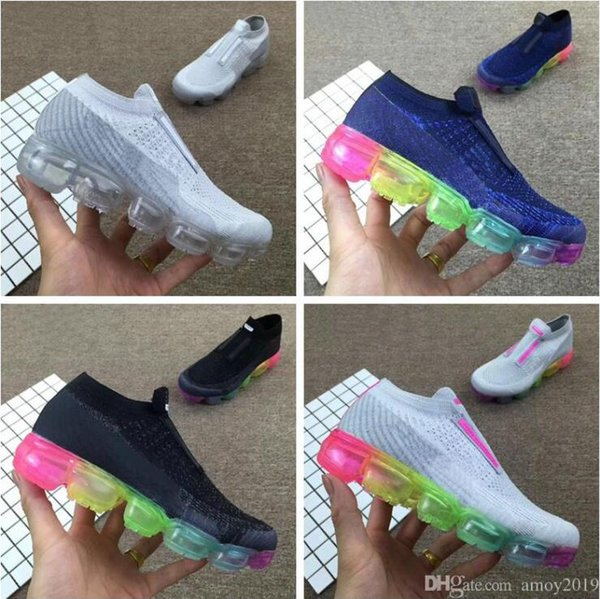 2018 Chaussures maxes Kids Sneakers Rainbow Be True Boys Girls Running Shoes Fashion Big Infant Children Laceless Sports Shoes Eur 28-35