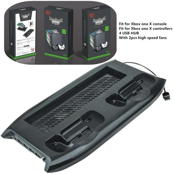 Frete grátis Multi função Ventilador De Refrigeração De Armazenamento De Disco Carregador Vertical Stand com 4 Hub USB para Xbox One X sempre Disponível em Estoque