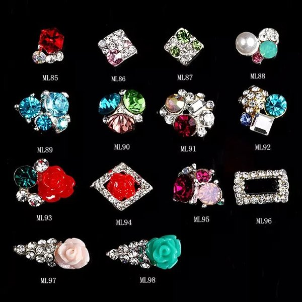 best selling 100Pcs Lot 3D Rhinestone Round Rose Flowers Mix Design Nail Art Supplies Manicure Accessory Nail Decoration 85-98(14designs)