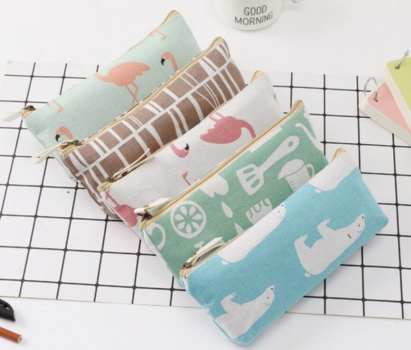 Wholesale- Hot Sales Cartoon Brids Pencil Case Big Capacity School Stationery Pen Bag Gift for Girl Boy Student Box