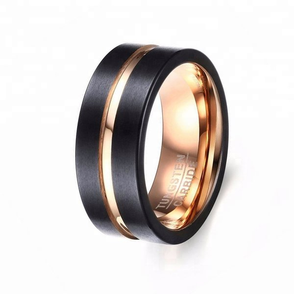 8mm Mens Black And 18k Gold Jewelry Tungsten Carbide Ring Wedding Band Ring