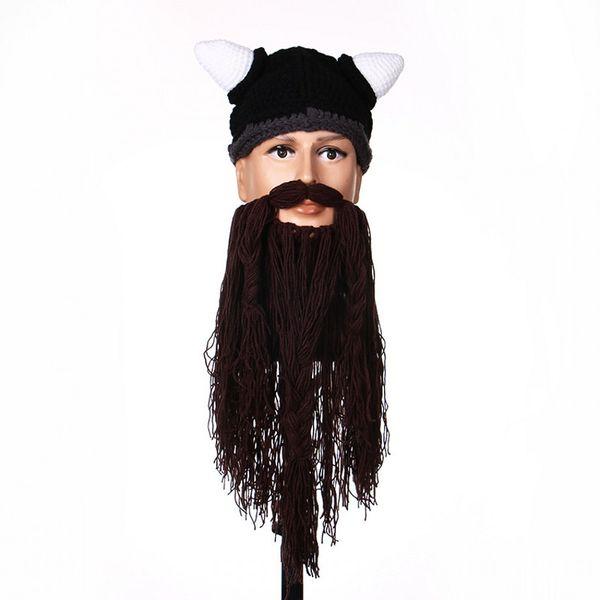 Halloween Man Vikings Beanies Knit Hats Beard Ox Horn Handmade Knitted Men's Winter Hats Warm Caps Women Gift Party Mask Cosplay Cap
