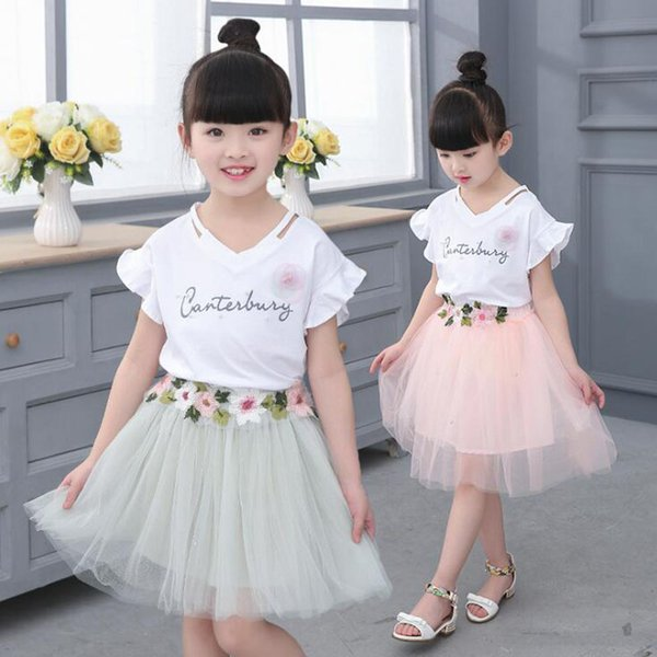 Summer New baby girls clothes Dress Suits white letter T shirt Flower tutu skirt 2pcs sets floral children clothing Outfits