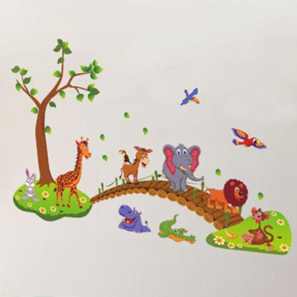 2018 Cartoon Lovely Animals Cross The Bridge DIY Vinyl Wall Stickers Kids Room Gift Home Decoration Art Decals Creative