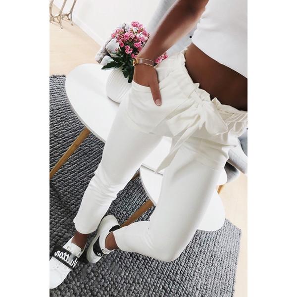 nueva llegada e0f67 41315 Compre 2018 Moda Otoño Mujer Casual Mediados De Cintura Pantalones Blanco  Suede Pajarita Lazo Dulce Cintura Elástica Bolsillos Pantalones Casuales A  ...