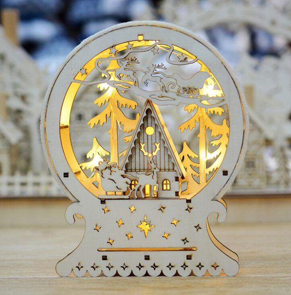 Christmas home decoration shopping mall window decoration creative luminous wooden house Christmas ornaments ornaments LED lights gift