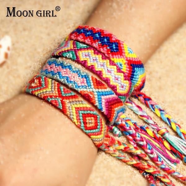 MOON GIRL Amistad Bohemio Pulseras Tejidas A Mano Femme Ajustable Colorido Cuerda De Algodón Ginebra Brasil Pulseras Envío De La Gota
