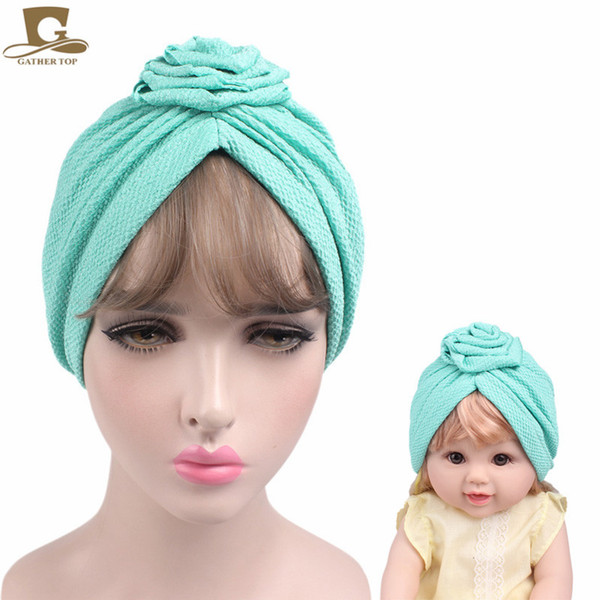 New Fashion Elegant Baby And Mom Rose Flower Turban Headbands Kids Women Beanie Girls Hair Bands Ladies Bandanas Turbante