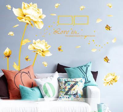 Fancy 160*180cm Golden Lotus Wall Stickers Wallpaper Paper Peint 3d Home Decor Bathroom Kitchen Accessories Household Suppllies