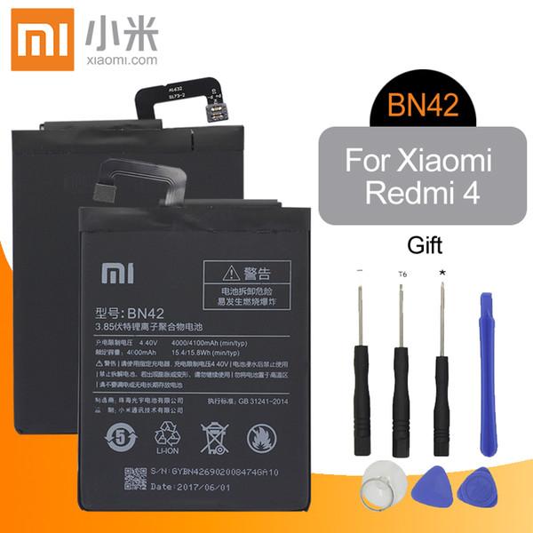 Xiao mi original bn42 bateria do telefone móvel para xiaomi redmi 4 bateria de substituição de alta capacidade 4000 mah de alta qualidade + ferramentas