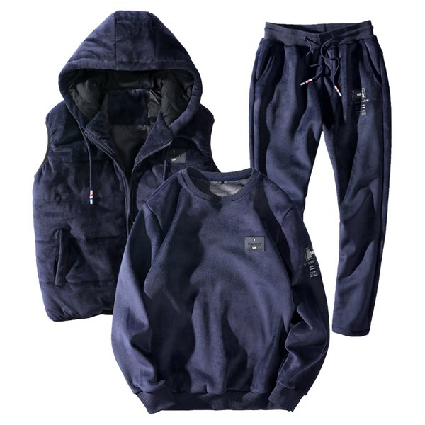 2018 Winter Velour Tracksuit Men 3 Piece Hooded Vest+Sweatshirt+Track Pant Warm Sweatsuits Men Velvet Tracksuits Sportswear Set
