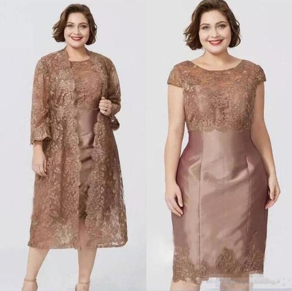 Chic marrón mangas cortas vaina vestidos de la madre con la chaqueta de encaje completo elegante té longitud madre de la novia vestido por encargo